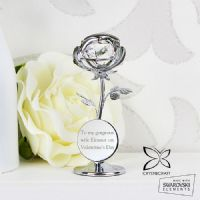 Personalised Crystocraft Rose Ornament - P0104I34 - Ideal gifts for Christmas, Birthdays, Valentines, For Her, Anniversaries, Memorial.